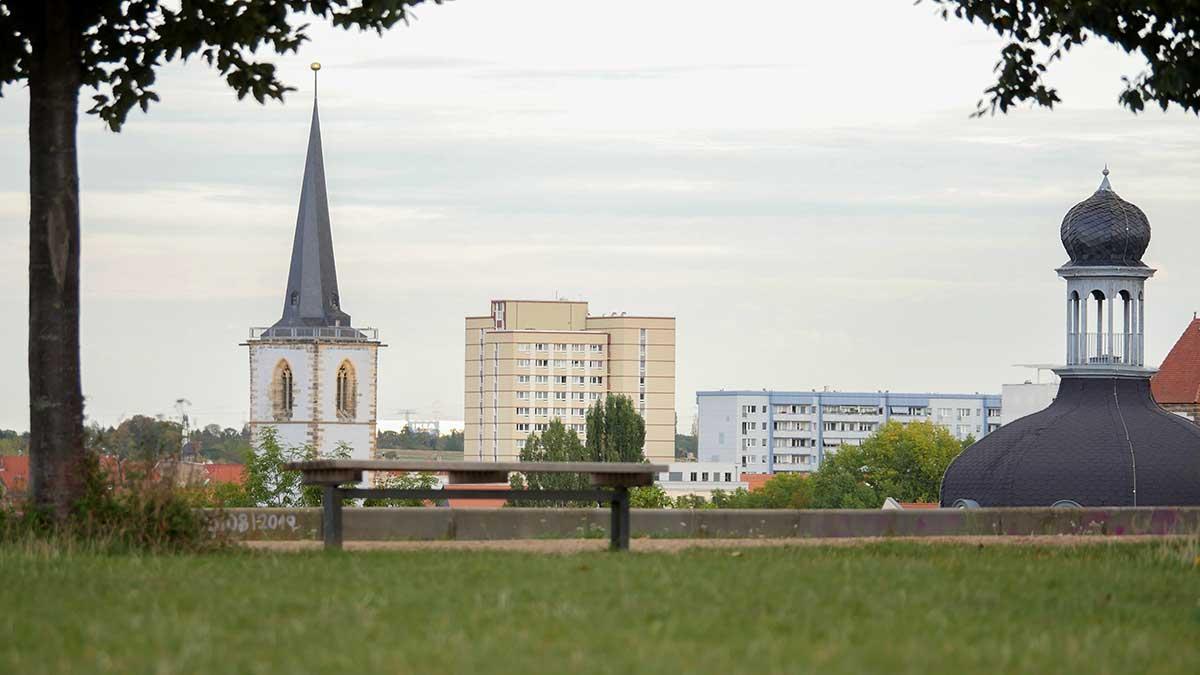 Vom Petersberg Erfurt ergibt sich ein Blick über die Stadt.