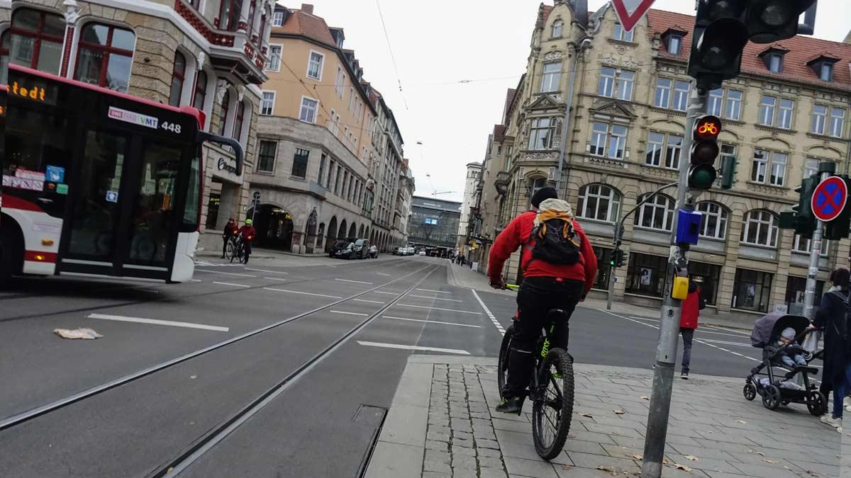 Die Bahnhofstraße in Erfurt Sitz des Coworking Spaces Krämerloft in Erfurt