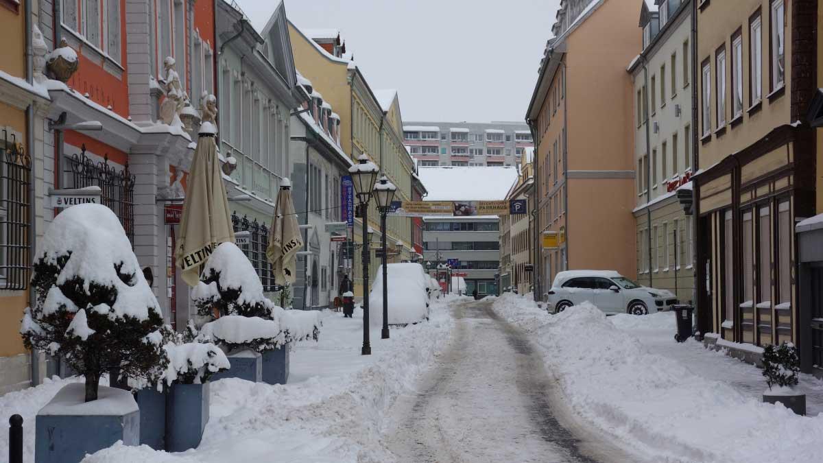 Die Futterstraße in Erfurt nach ergiebigen Schneefall