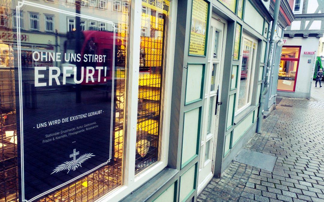 Todesanzeigen in Erfurter Schaufenstern