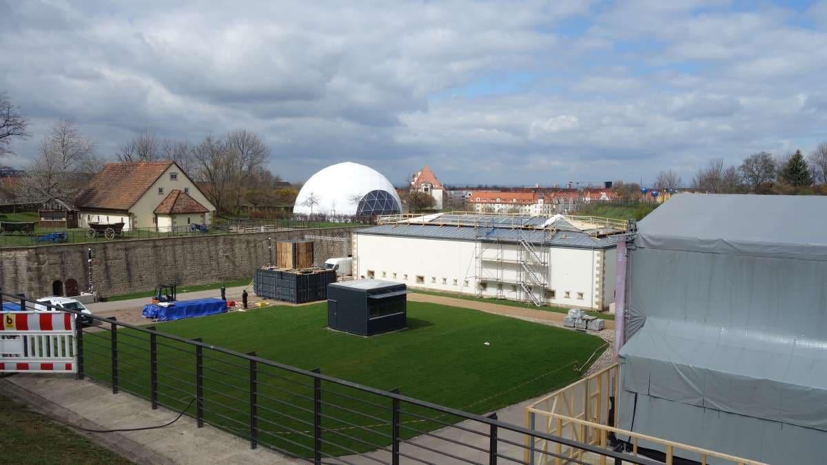 Bauarbeiten auf dem Petersberg in Erfurt vor der Eroeffnung der Bundesgartenschau 2021