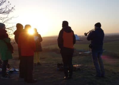 Sonnenaufgang zu Ostern 2021 auf der Erfurter Schwellenburg