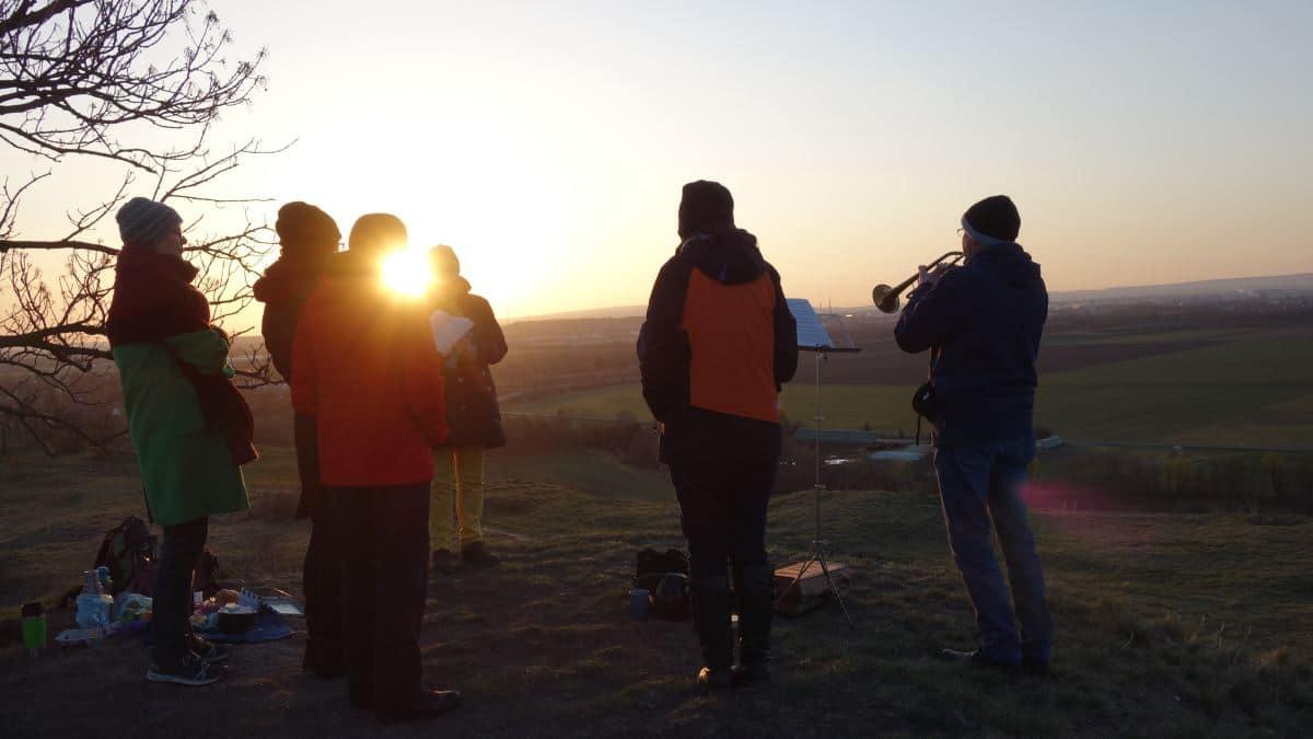 Sonnenaufgang zu Ostern 2021 auf der Schwellenburg in Erfurt